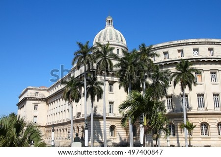Havana Capitol in Cuba - government building. Classical architecture.