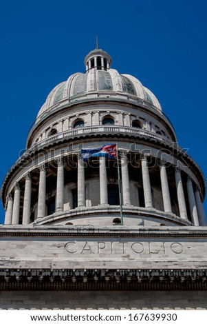 Havana Capitolio Dome with Cuban flag