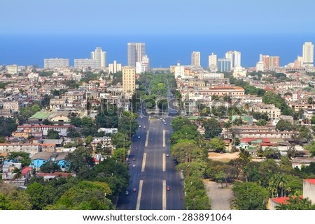 Havana, Cuba - aerial view with Caribbean Sea. - stock photo