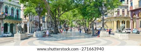 HAVANA,CUBA - APRIL 21, 2015 : High resolution image of El Prado boulevard in Old Havana - stock photo