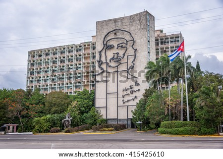 HAVANA, CUBA - APRIL 17: Ministry of the Interior building with face of Che Guevara located in Revolution Square, on April 17,2016 in Havana, Cuba - stock photo