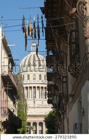 Havana Cuba Capitolio building view through the narrow colonial passages of Old Havana - stock photo