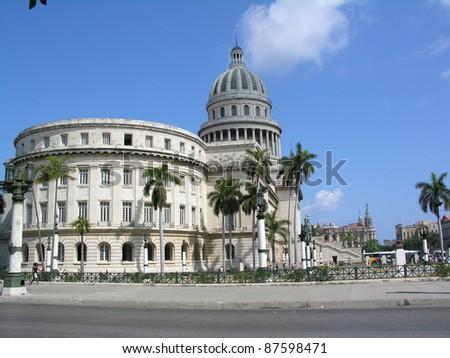 HAVANA, CUBA - CIRCA APRIL 2006: El Capitolio, or National Capitol Building in Havana, Cuba circa April, 2006 in Havana. Completed in 1929, it was the tallest building in Havana until the 1950s - stock photo