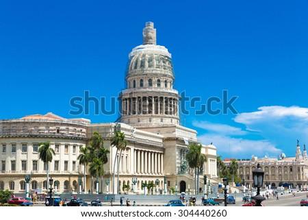 HAVANA, CUBA - CIRCA AUGUST 2015: The famous Capitol building in Havana, Cuba. - stock photo