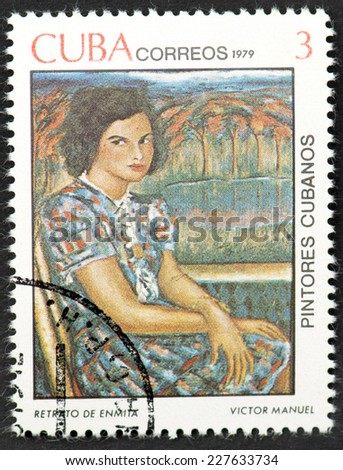 HAVANA,CUBA-CIRCA 1979:Retrato de Enmita a painting by Avant-garde Cuban painter Victor Manuel Garcia Valdes featured in a stamp series celebrating Cuban painters.