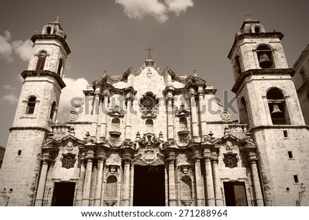 Havana, Cuba - city architecture. Famous baroque Cathedral, with its asymmetric towers. Sepia tone - retro monochrome color style. - stock photo