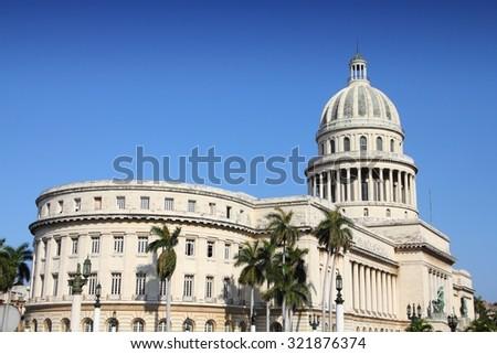 Havana, Cuba - city architecture. National Capitol (Capitolio Nacional) governmental building. - stock photo