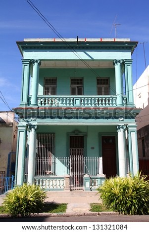 Havana, Cuba - city architecture. Old residential building.