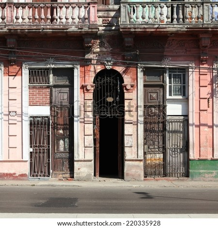 Havana, Cuba - city architecture. Old residential building. Square composition.