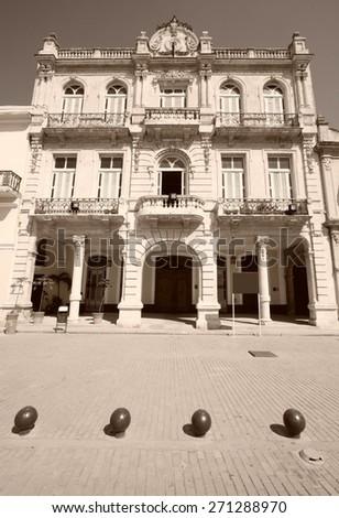 Havana, Cuba - city architecture. Renovated architecture at famous Plaza Vieja square. Sepia tone - retro monochrome color style. - stock photo