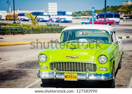 HAVANA, CUBA - DEC 30: Chevrolet classic car on December 30,2012 in Havana. With an estimated 60,000 vintage cars still in Cuba, these old classics are a tribute to the nostalgia of the old days. - stock photo