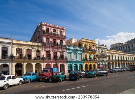 HAVANA,CUBA - DECEMBER 18, 2012: Buildings on the main street - stock photo