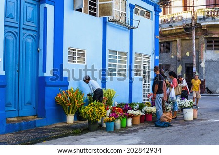 HAVANA, CUBA - DECEMBER 2, 2013: Florists with colorful flowers  on the one of Havana street - stock photo