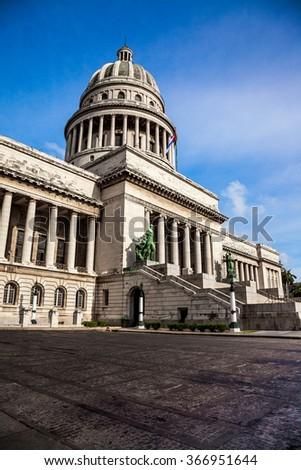 Havana, Cuba - Famous National Capitol (Capitolio Nacional) building. - stock photo