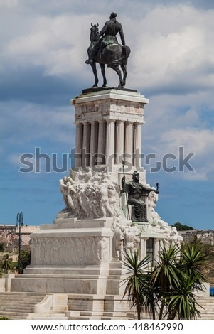 HAVANA, CUBA - FEB 22, 2016: General Maximo Gomez monument in Havana.