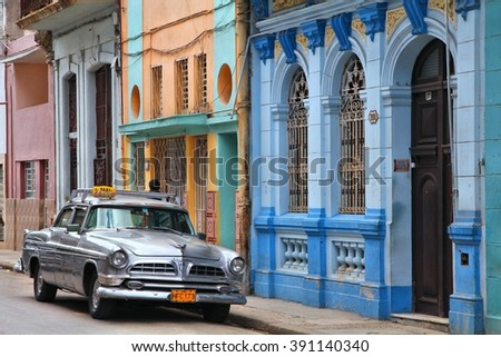 HAVANA, CUBA - FEBRUARY 27, 2011: Classic car parked at the curb in Havana. Cuba has one of the lowest car-per-capita rates (38 per 1000 people in 2008). - stock photo