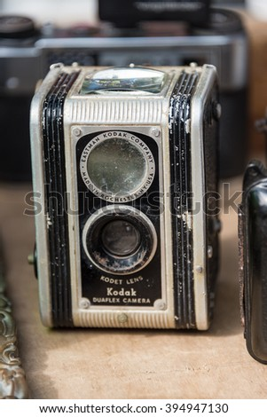 HAVANA,CUBA-FEBRUARY 9,2016:Vintage antique Kodak camera sold as souvenir in Old Havana. Souvenir selling is one of the most successful private business in the Caribbean Island