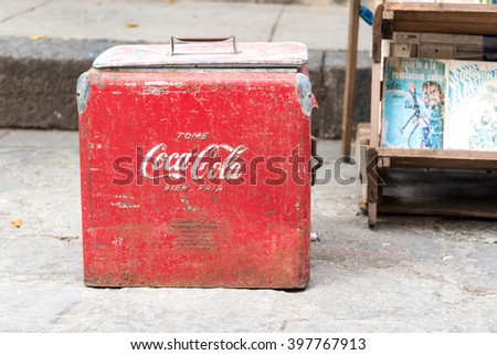 HAVANA,CUBA-FEBRUARY 19,2016:Vintage Coca Cola cooler being sold at antiquities stand. Old Havana is Unesco World Heritage Site and major tourist landmark in the Caribbean Island