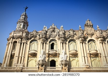 Havana, Cuba. Great Theatre building. Havana's old town is a UNESCO World Heritage Site. Filtered style. - stock photo