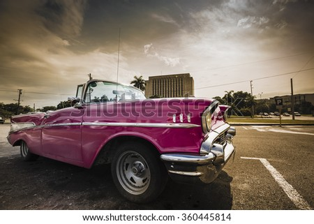 HAVANA, CUBA - JANUARY 10: Classic/Vintage Car on January 10, 2016 in Havana, Cuba. Due to the new diplomatic relationship with the USA, more and more of these cars disappear from cuban streets. - stock photo