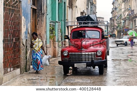 Havana, CUBA - JANUARY 12, 2016: Havana old classic American car on street of Havana,CUBA. Cuba - Havana. Cuba cars in Havana. Cuba, Havana historic. - stock photo