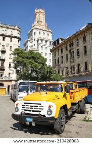 HAVANA, CUBA - JANUARY 30, 2011: Old Russian Zil truck parked in Havana, Cuba. Cuba has one of the lowest car-per-capita rates (38 per 1000 people in 2008). - stock photo
