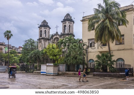 HAVANA, CUBA - JANUARY 15, 2016: Square and Church of Christ in the old town
