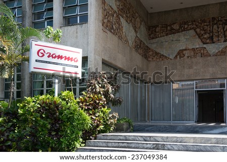 HAVANA,CUBA-JULY 3,2014: Granma sign outside the headquarters of the newspaper. Granma is the official newspaper of the Central Committee of the Cuban Communist Party.