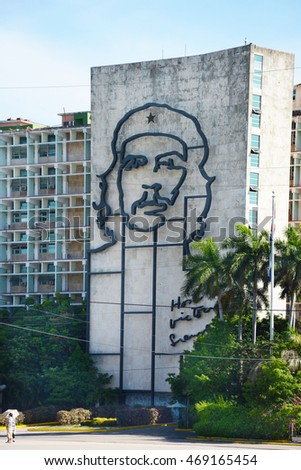 HAVANA, CUBA - JULY 24, 2016: Ministry of the Interior building with face of Che Guevara, Revolution Square, Cuba