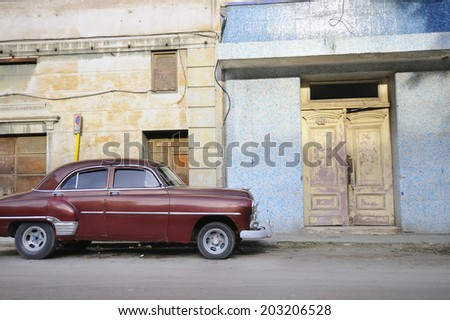 HAVANA, CUBA - JULY 9, 2010. Side view of vintage classic American car, commonly used as private taxi parked in Havana street.  - stock photo