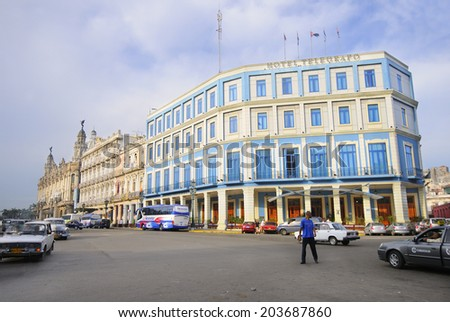 HAVANA, CUBA - JULY 9, 2010. View of Hotel Telegrafo, Cuba's oldest hotel, named after the country's first telegraph station. - stock photo