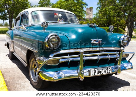 HAVANA,CUBA - JUNE 27, 2014: A green american classic car parked