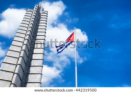 HAVANA,CUBA - JUNE 21,2015: Monument and cuban flag at the Revolution Square in Havana on a beautiful summer day - stock photo