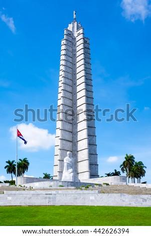 HAVANA,CUBA - JUNE 22,2016 : The Jose Marti memorial monument at the Revolution Square in Havana - stock photo