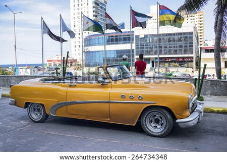 HAVANA, CUBA - MARCH 21, 2015 - Classic vintage Buick in front of Melia Cohiba Hotel.  - stock photo