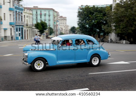 HAVANA, CUBA - 3 March, 2106 : Cubans use old american cars for their daily transport.