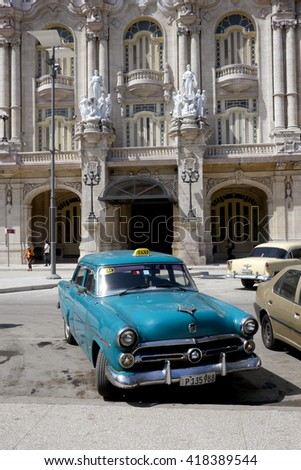 Havana, Cuba - March 2, 2016 : Old American cars used daily as taxis in Havana, Cuba.