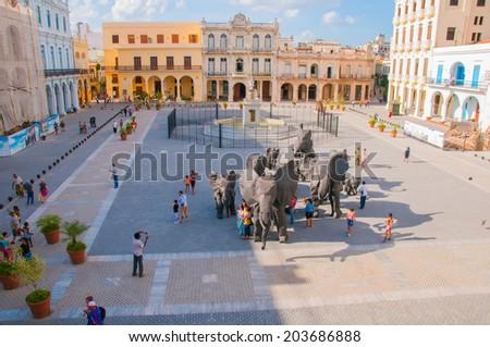 HAVANA, CUBA - MARCH 27, 2009: View of art installation during 10th havana art biennial in Old Havana Plaza - stock photo