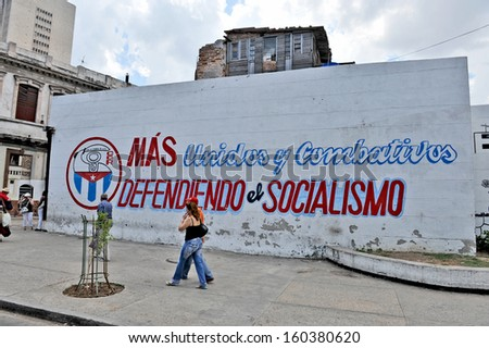 HAVANA, CUBA, MAY 11, 2009. Artistic wall writings about the communist revolution and Cuban national heroes, in Havana, on May 11th, 2009. - stock photo
