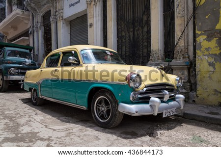 Havana, Cuba - May 28, 2014: Classic american car parked in the streets of Old Havana