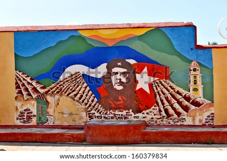 HAVANA, CUBA, MAY 11, 2009. Graffiti and wall paintings representing the Cuban national heroes, in Havana, on May 11th, 2009. - stock photo