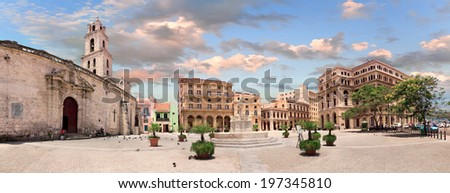 HAVANA, CUBA - MAY 15: Plaza San Francisco de Asis on may 15, 2013 in Havana, Cuba. Today of it remind two buildings: ancient customs and former exchange. - stock photo