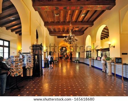 HAVANA, CUBA, MAY 11, 2009. The main lobby of Hotel Nacional, in Havana, Cuba, on May 11th, 2009.  - stock photo