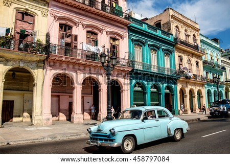 HAVANA, CUBA - MAY 15, 2016: View along Paseo de Marti in downtown Havana, Cuba. Classic car on a sunny summer day.