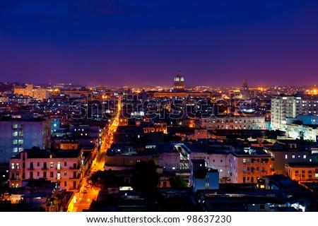 Havana, Cuba. Night view. - stock photo