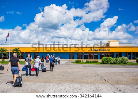 HAVANA, CUBA-OCT 25:  American tourists arrive in Havana directly from Miami, on October 25, 2015 - stock photo