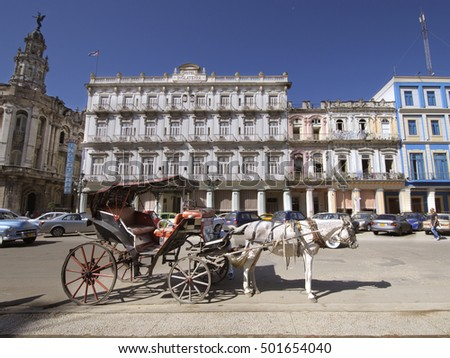 HAVANA, CUBA - OCT 20, 2011: The historic Hotel Inglaterra founded in 1875 near Central Park in Havana, Cuba