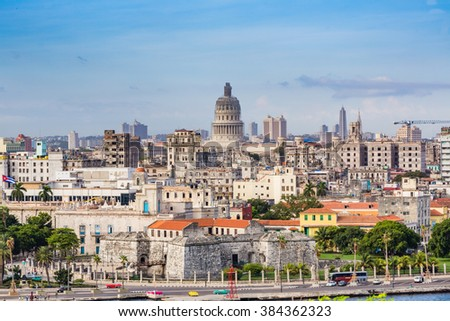 HAVANA, CUBA - OCTOBER 17 -  Historic shoreline of Havana, Cuba on Oct 27, 2015