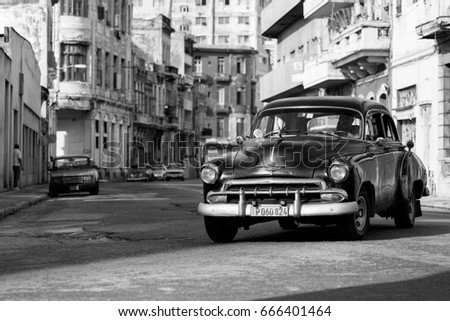 HAVANA, CUBA-OCTOBER 15:Old car on streets of Havana October 15, 2015 in Havana. With 2.4 million inhabitants in the city and 3.7 in its urban area, Havana is the largest city in the Caribbean