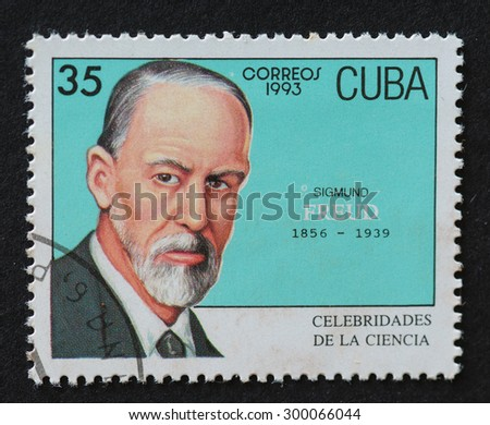 HAVANA,CUBA- REVOLUTIONARY PERIOD: Cuban postal stamp of Correos 1993 series depicting the image of psychologist Sigmund Freud. - stock photo
